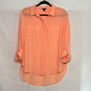 Ann Taylor Sherbet Orange Silk Button Down Shirt